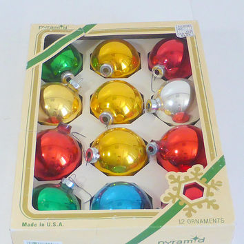 Vintage Pyramid Glass Ornaments 2 1/2 Inch Diameter Gold Green Red Blue  Rauch Industries Original Box Christmas Ornaments Tree Decoration