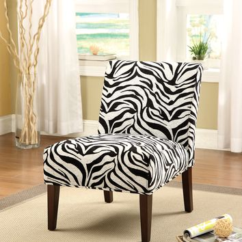 Aberly Armless Accent Chair, Black & White