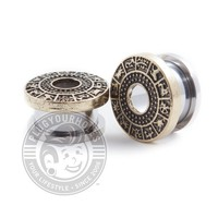 Antique Zodiac Dial Threaded Steel Tunnels