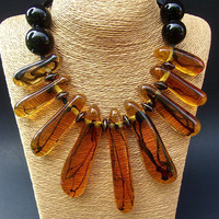 Lucite Amber Huge Designer Necklace, Black Onyx Beads & Ribbon, Vintage