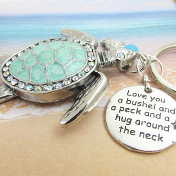 Sea Turtle Keychain, Beach Keychain, Car Accessories, Love Quote Keychain, Beach Keyring, Ocean Critter Keychain, KY31