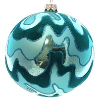 Holiday Ornament Flocked Ball Ornament Glass Ornament