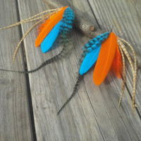 long Feather Earrings, Real feather earrings, orange, blue, Dangle earrings, Gypsy earrings, Neon Feather Earrings,