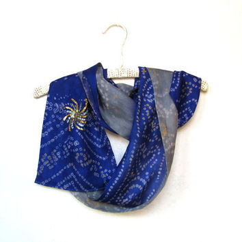 Silk sari scarf batik blue gray India upcycled by Patchtique
