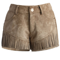 Faux Suede Tasseled Shorts in Tan Brown