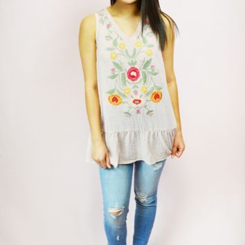 just darling embroidered tank w/ bow back - pink/multi