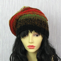 Womens hat knit hat soft and warm  handknit fantasy  hat autumn forest OOAK Colorful Women Hat - Slouchy Hat - Chunky Knit Hat  Chunky Knit