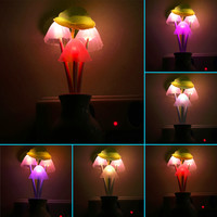 Fashion US Plug Mushroom Wall Socket Light-controlled Sensor LED Night Light Lamp Bedroom Decor