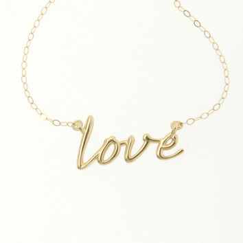 14k Gold Love Necklace - Simple and RomanticYellow, White or Rose Gold