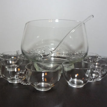 Vintage Modern Clear Glass Footed Punch Bowl with a Ladle and Set of 13 Glasses (2 Sizes) with Bubble Handles - Mid Century Modern