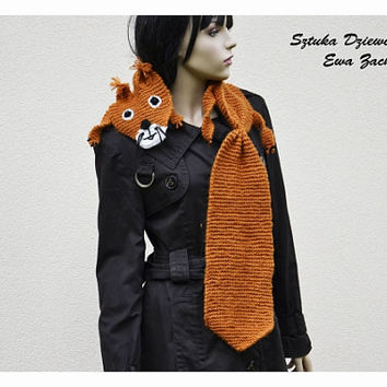 Orange squirrel scarf , hand knit scarf , Orange scarf , Scarf Made to order