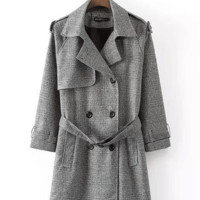 Gray Notched Collar Trench Coat with Belt