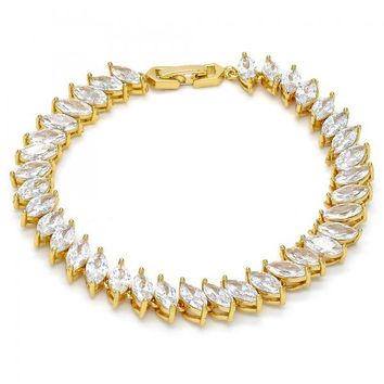 Gold Layered Tennis Bracelet, Leaf Design, with Cubic Zirconia, Golden Tone