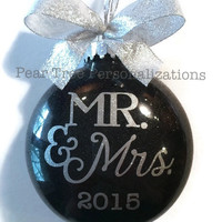 Mr and Mrs Ornament, Our First Christmas Ornament, Wedding Ornament, Wedding Gift, Personalized Gift, Newlywed Ornament, Our 1st Christmas