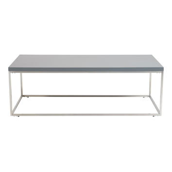 Teresa Rectangle Coffee Table in Matte Gray with Brushed Stainless Steel Base
