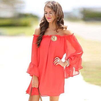 Women Blouse Shirt Summer Sexy Slash Neck Flare Sleeve Solid Color Loose Beach Shirts WS396E