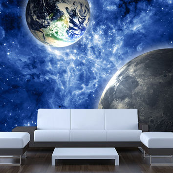 Shop space wall mural on wanelo for Earth rising wall mural