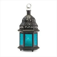 Moroccan Lantern Blue Glass Candle Holder Candleholder