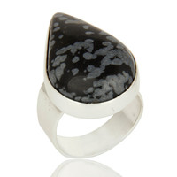 Black Obsidian Gemstone Sterling Silver Handmade Bezel Set Ring