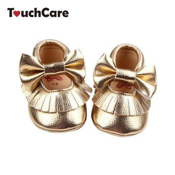Newborn Cute Candy Color Baby Girl Shoes Kids Soft Butterfly-knot Leather Moccasins Pr