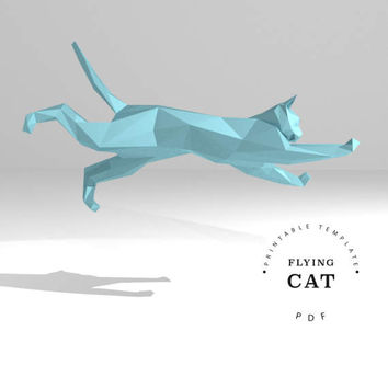 Printable DIY template (PDF, PDO, dxf).  Flying Cat low poly paper model. 3D animal paper sculpture. Origami.
