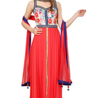 Red Anarkali Suit with Floral Printed Yoke