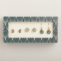 Gold Crescent Moon, Mint and Green Earrings, Set of 3 - World Market