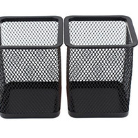 EasyPAG 2 Pcs 2.5 inch Square Steel Mesh Style Pen Pencil Holder Desk Organizer for Home Office Supply Caddy , Black