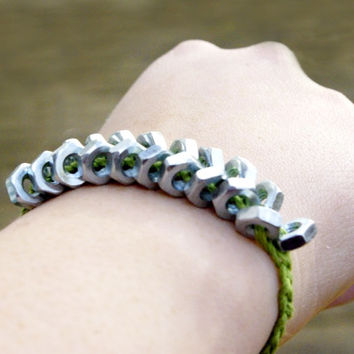 Green and Silver Woven Hex Nut Bracelet - Winchester Young Life Fundraiser, Stephanie J