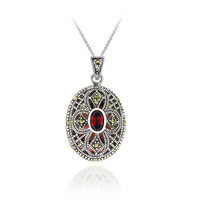 925 Silver Marcasite & Garnet Oval Filigree Locket Necklace