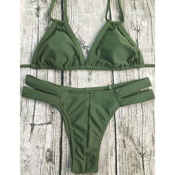 Hollow Out Solid Color Bikini
