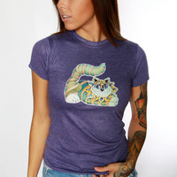 Vintage Cheshire Cat Tee / Alice In Wonderland