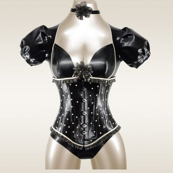 Underbust PolkaDot Corset  made to order by OohLaLatex on Etsy