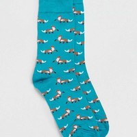 Teal Fox Motif Socks - Topman