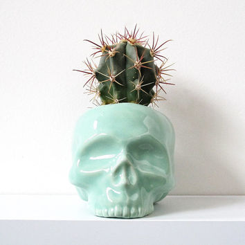 MADE TO ORDER - Mint Ceramic Skull Planter Vase - perfect for cactus succulent air plant flowers