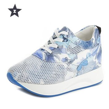 Z Platform Shoes Wedges Increased internal High Heels Shoes Women Mesh hollow Flower Lace-UP Walking Shoes Woman Sneakers