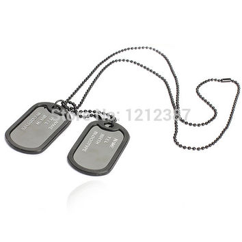 Black Dual Plates Metal Pendant Necklace Man Long Sweater Chain Military Army Style Cool HB88