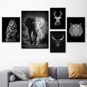 Black White Elephant Owl Cow Deer Tiger Animals Wall Art Canvas Painting Nordic Posters And Prints Wall Pictures For Living Room