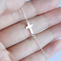 Tiny sterling silver sideways cross necklace, skinny cross necklace, dainty everyday wear, christmas gift, bridesmaid gifts, Skinny Small