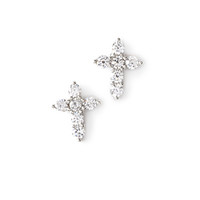 Rhinestone Cross Studs