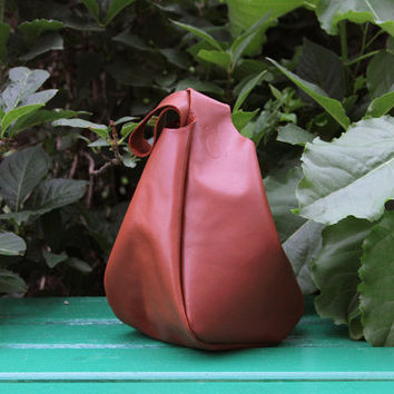 "Handmade Italian Leather Bag for wrist ""Bonica Chocolate"" / Wristlet / Handbag"