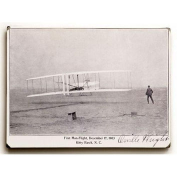 Wood Sign : Wright Brothers Flight at Kitty Hawk