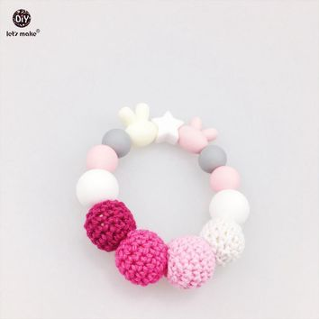 Let's Make Baby Teether Accessories 2pc Rabbit Star Chew Silicone Beads Crochet Bead Crib Toy Teething Jewelry Nursing Bracelets