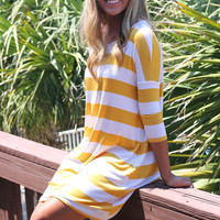 The Way It Goes Yellow Striped Quarter Sleeve Dress