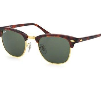 Ray-Ban RB3016 Clubmaster Unisex Sunglasses with Tortoise Frame and Green...
