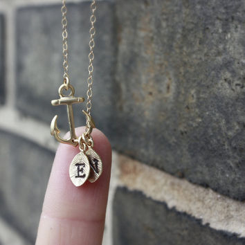 Sideways Anchor Initial Necklace - Two Initials . Couples Monogram . Personalized Anchor Necklace . Gift for Mom, Best Friends, Sisters