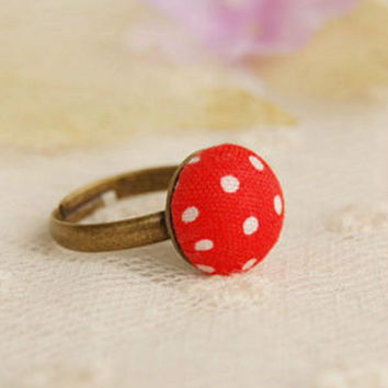 SALE Vintage Bronze Red Polka Dot Adjustable Ring