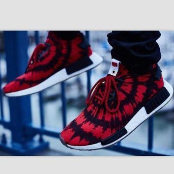 VLX85E Beauty Ticks Women Adidas Nmd Boost Casual Sports Shoes Red Black Print