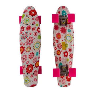 "22"" Complete Plastic Penny Style Street Print Skateboard - bright flowers"