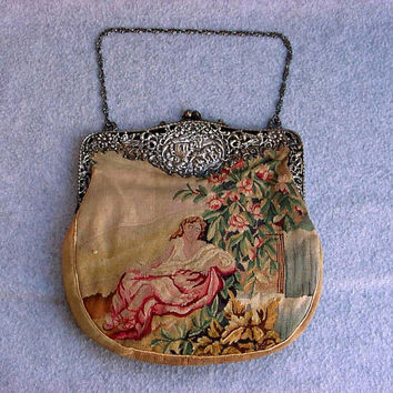 "Art Nouveau Petit Point Purse Scenic Woman In Garden Sterling Silver Carriage Frame Tapestry Handbag Antique Bag Vintage 10"" Tall Accessory"